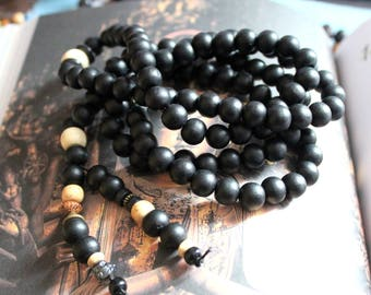 Traditional MALA NECKLACE/BRACELET black wood with final pearls