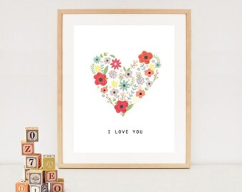 I love you nursery wall art - nursery wall decor for Valentines day - heart printable - INSTANT DOWNLOAD