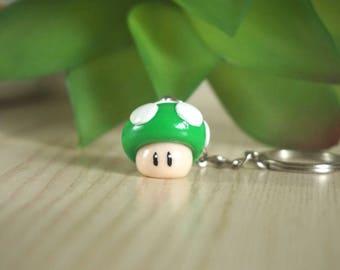 Super Mario 1 up mushroom as key fob-green from Fimo-polymer clay-lucky mushroom-fly mushroom