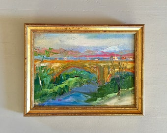 Bridge Landscape - Framed Oil Painting -5 x 7  Handmounted  linen on hardboard- Professionally Framed in gold- Original Painting