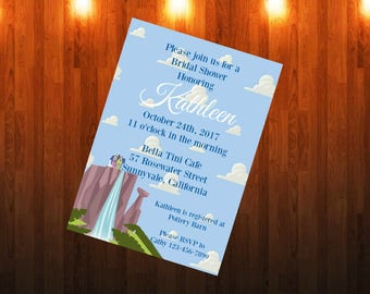 Disney Pixar UP Clouds House Paradise Falls Bridal Baby Shower Invitation  Printable Downloadbale