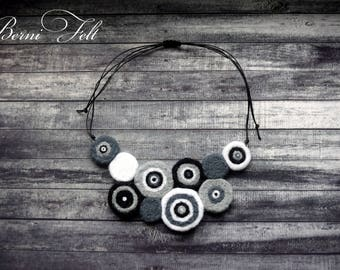 Design Necklace Felt Necklace  Wool Jewelry  Gray  Wool Necklace Winter Jewelry - Original Round Jewelry