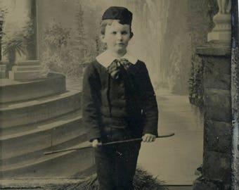vintage photo Tintype Little Boy Cap CAne Abner JAckson LeClair Martin IOWA