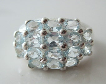 Sterling Silver Statement Ring of Aquamarine or Sky Blue Topaz Multi-Stone