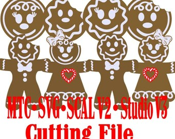 SVG Cut File Gingerbread Bundle Heads and Ginger Bread Men & Women  Bundle of 8 Holiday Gift Tag Silhouette Cricut MTC SCAL