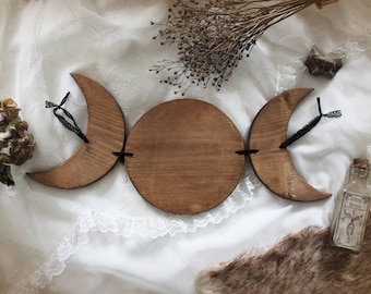 Triple Goddess . Natural . big wall hanging triple moon in wood and lace ecological wicca pagan witchcraft magic gothic decoration .