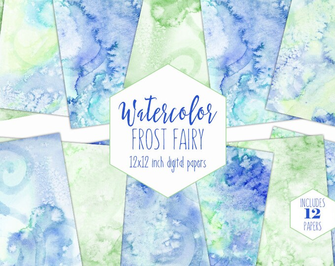 OCEAN BLUE WATERCOLOR Digital Paper Pack Commercial Use Backgrounds Aqua Mint Lime Scrapbook Papers Frost Fairy Real Watercolour Textures