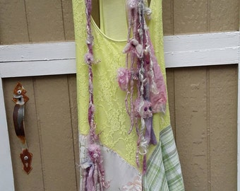Altered couture dress, summer dress, soft  colors, and bit boho a bit hippie  dress,lace up in the back,