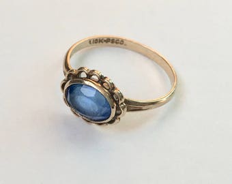 vintage 10k gold and blue stone ring, size 6.25