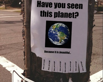 Have You Seen This Planet? Because it is Beautiful / Inspirational Tear-Off Flyer for Street, Home / Earth Day 2015 // Instant Download