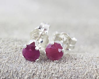 Ruby Earrings - Red Stone Earrings - Post Earrings - July Birthstone Gift - Ruby Earrings Stud - Precious Stone Earrings - Ruby Jewelry