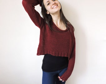 Hand knit mohair sweater Cropped sweater top Womens sweaters Crop top sweater Plus size sweater Claret knit pullover Red sweater Knit jumper