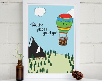 Oh The Places You'll Go Print   Dr Suess Quote   Nursery Wall Art   Hot Air Balloon   Boys Room   Girls Room   Woodland Nursery