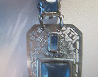 antique  deco necklace ,,fillagree with blue stones. with original chain...lovely