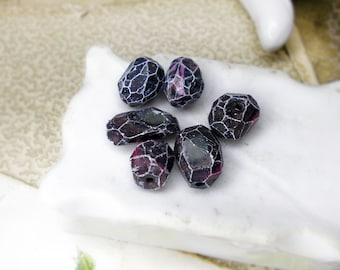 SALE Polymer Clay Beads - 6 Rustic Faceted Beads - Black Space Nuggets - Drops, Faux Quartz Point - White Facet Edges, Gloss Finish