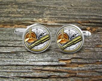 Steampunk 1 Aviation Airplane Propeller Binoculars Compass Cufflinks -Wedding-Jewelry Box-Silver-Keepsake-Gift-Man gift-Graduation-Men
