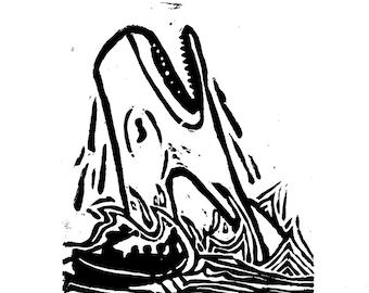 Leviathan 1 color linocut (1/7)