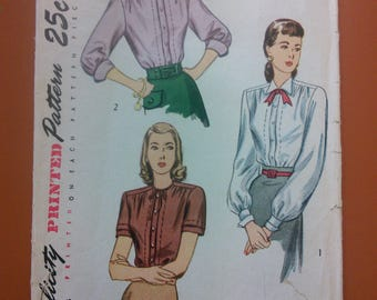 Simplicity 2132 Shirt Blouse Top Bow Peter Pan Collar Vintage Sewing Pattern 1940s 40s Size 16