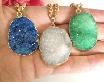 druzy agate pendant - statement necklace - druzy necklace - raw gemstone - bohemian chic jewelry