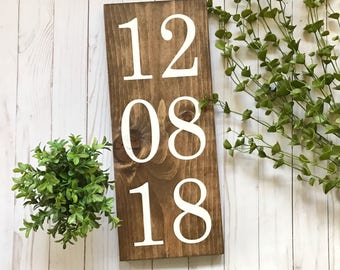 Wedding Date Sign, Anniversary Date Sign, Custom Anniversary Date Sign, Wooden Custom Date Sign, Custom Numbers Sign, Save the Date Sign