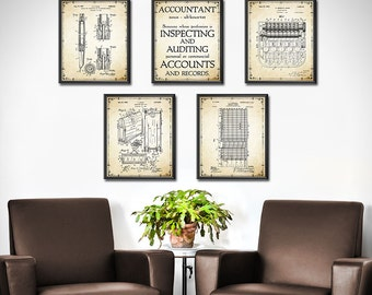 Accountant Gift - Accountant Patent Prints Set of 5 - Accounting - Book Keeping - Office Decor Wall Art Mathematical Calculation 1359