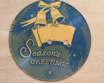 vintage 1940's seasons greeting record - small record