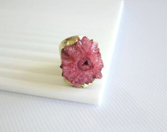 Druzy ring, adjustable ring, gold band druzy ring gold Druzy Ring,ring, Large Gold Druzy Ring, Mineral Ring, Gemstone Ring red Druzy Ring