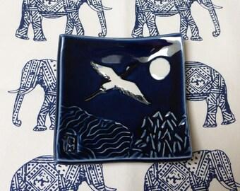 Blue porcelain crane dish