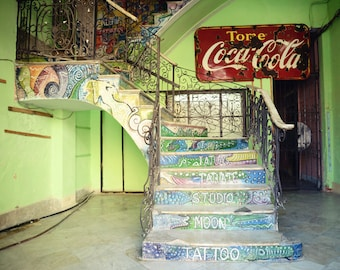 Cuba, Retro, Photography, Fine Art Print, Colorful Staircase, Tattoo Studio, Lime Green, Blue, Havana, Travel, Wall Art