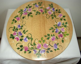 Hand Painted LAZY SUSAN With ROSES