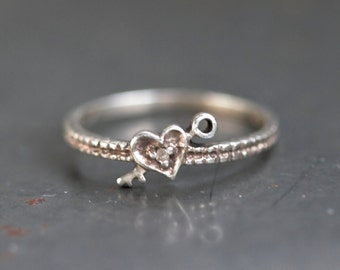 Heart and Key Sterling Silver Ring - Stackable ring size 6.5