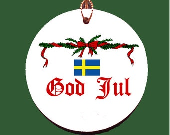 Swedish God Jul Porcelain Christmas Ornament