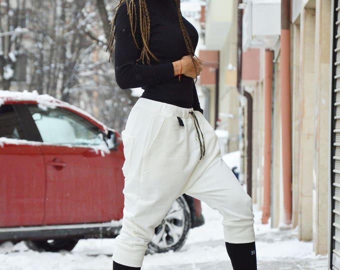 White Unisex Pants, Cotton Pants, Loose Drop Crotch Pants, Plus Size Pants, Extravagant Low Bottom Pants by SSDfashion
