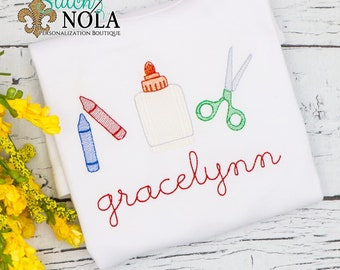 Back to School Trio Sketch Embroidery, Back to School Trio, Crayons, Glue Scissors