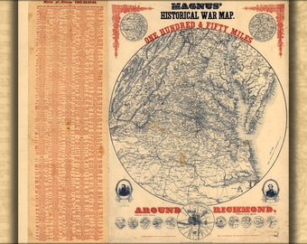 Poster, Many Sizes Available; Civil War Map Of 150 Mi Around Richmond 1864