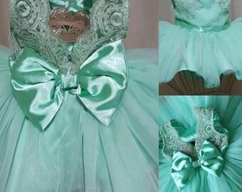 Stylish pageant dress   girls' lace dress   Baby lace dress