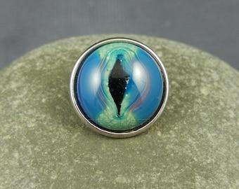 Jewellery Popper / Snap / Chunk, Dragon's Eye, dragon eye, interchangeable, lampwork art glass