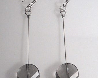 Twisted Smoke Crystal Sterling Silver Earrings