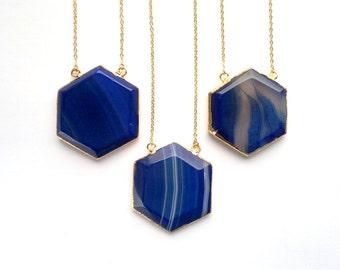Ink Blue Agate Necklace Purple Agate Necklace Hexagon Pendant Prism Pendant Honey Comb Pendant Geometric Necklace Stone Necklace Gold Agate
