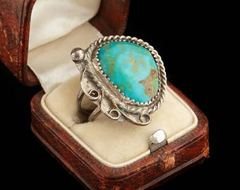 Antique Native Navajo Pawn Sterling Silver Cripple Creek Turquoise Ring Sz 3.5 | Vintage | 5.8 Grams | Marble | Blossom | Old Dead | M