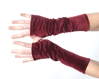 Wine red velvet armwarmers, Burgundy red fingerless gloves, Womens long fingerless gloves, Gift for her, Womens accessories, MALAM