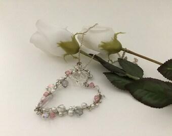 Heart Pendant Necklace - Silver Heart Necklace -Swarovski Crystal Necklace - Pearl Necklace - Silver Flowers Necklace - Silver Necklace