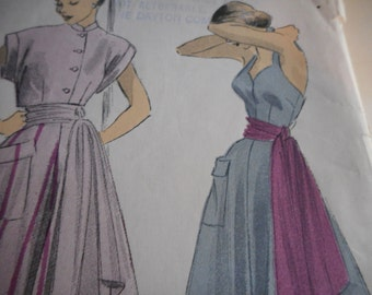 Vintage 1950's Advance 5160 Dress, Sash and Bolero Sewing Pattern, Size 12 Bust 30