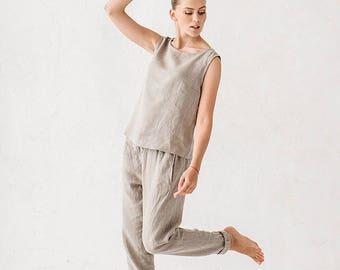 Natural Gray Linen Trousers Lounge wear