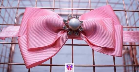 Pastel Pink Grosgrain Ribbon Bow with pearly rhinestone - Baby / Toddler / Girls / Kids Headband / Hairband / Hair bow / Barette / Hairclip