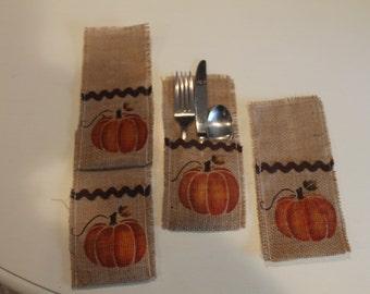 Fall Burlap Silverware Holder. Pumpkin...Country Decor..Burlap Decor...Housewarming Gift..Set of 4...Home Decor...Fall Decor