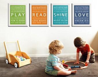 Baby nursery decor. Nursery art, nursery wall art, nursery prints. Inspirational prints for kids. Children art SET OF 4 prints by WallFry