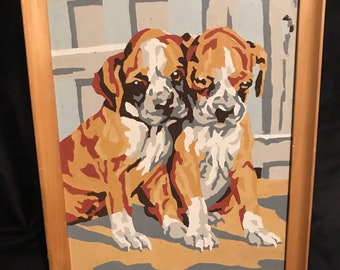 Vintage Boxer Painting Dog Paint by Numbers Boxer Puppies