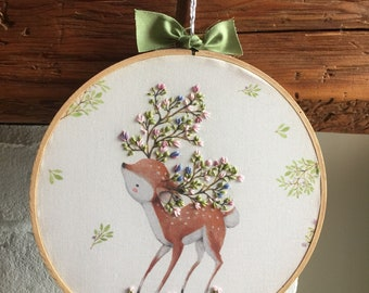 READY TO SHIP . hand embroidered deer . doe . spring . nursery decor . childrens decor . wall art . cotton . water based ink . 7 inches