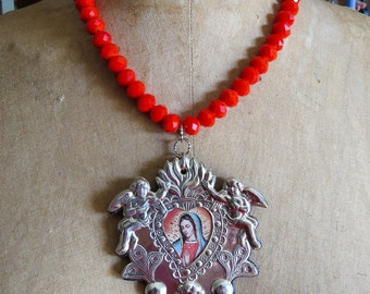 BELOVED- Ex Voto SACRED HEART Guadalupe Milagro Statement  Necklace-   Perfect for your loved one